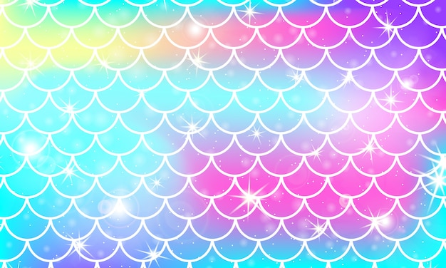 Łuski syrenki. łuska rybna. wzór kawaii. akwarela gwiazdy holograficzne. tęcza tło. ilustracja kolor. nadruk skali.