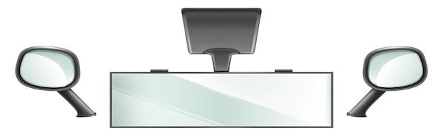 Lusterka wsteczne w czarnej ramie do wnętrza pojazdu. wektor realistyczny zestaw lusterek samochodowych środkowych i bocznych na białym tle. sprzęt samochodowy lub ciężarowy do bezpiecznej jazdy