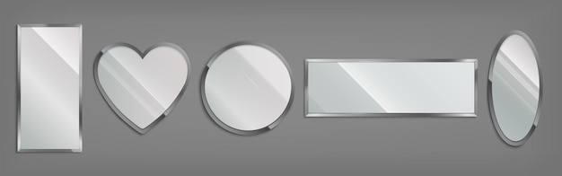 Lustra w metalowej ramie w kształcie koła, serca, owalu i prostokąta na szarym tle. wektor realistyczny zestaw błyszczących szklanych luster z chromowaną obwódką. nowoczesna dekoracja do łazienki