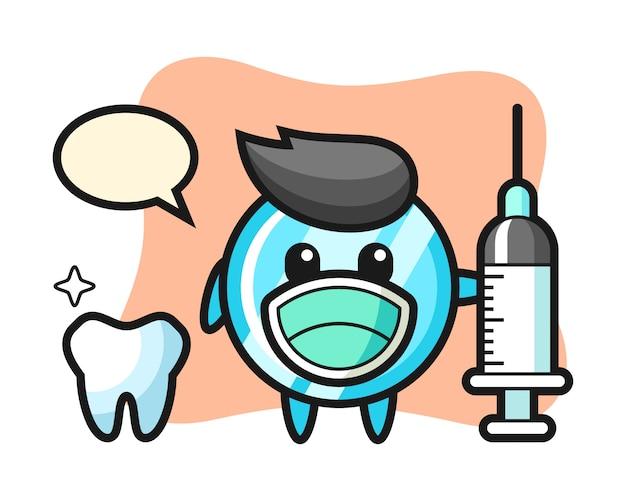 Lustro maskotka jako dentysta