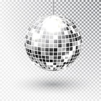 Lustrzana błyskotliwość dyskoteki piłki wektoru ilustracja. element świetlny imprezowy night club. jasna lustrzana srebrna kula dla klubu disco. wektor