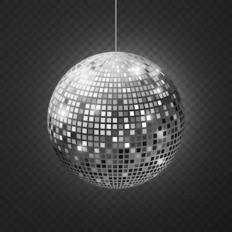 Lustrzana kula dyskotekowa. soffit odbicie piłka lustrzana dyskoteka party srebrny brokat sprzęt retro promienie świecące lustro