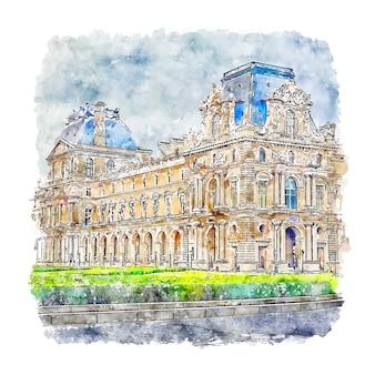Luwr paryż francja szkic akwarela ręcznie rysowane ilustracji