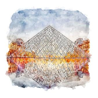 Luwr w paryżu szkic akwarela ręcznie rysowane ilustracji