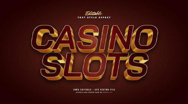 Luxury gold casino text style z efektem 3d. edytowalny efekt stylu tekstu. edytowalny efekt stylu tekstu