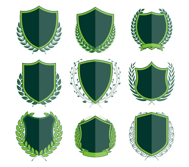 Luxury green badges laurel wreath collection