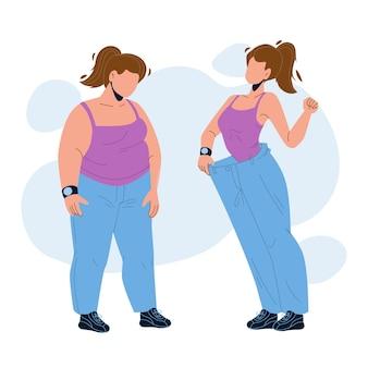 Luźna waga kobieta przed i po wyglądzie wektor. tłuszczu dziewczyna i schudł cienką wagę, dietę lub fitness ćwiczenia sportowe. postać pani z nadwagą i z atletyczną sylwetką płaska ilustracja kreskówka