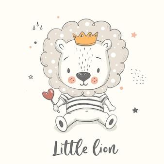 Lwiątko. ręcznie rysowane ilustracji wektorowych. plakat dla dzieci, druk dla dzieci, kartka z życzeniami na baby shower.
