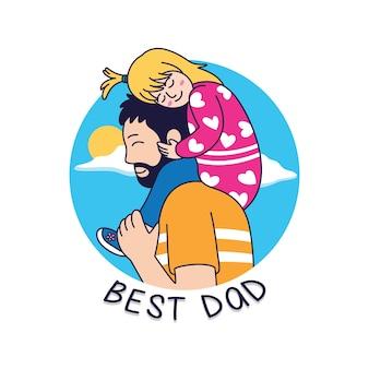 Łyka tata ilustracja kreskówka, ojciec z córką na ramionach
