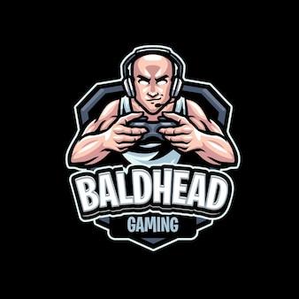 Łysa głowa gaming maskotka logo szablon