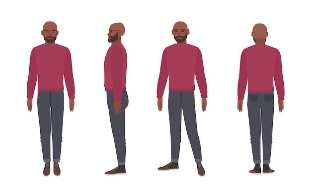 Łysy brodaty african american mężczyzna w okularach i sweter.