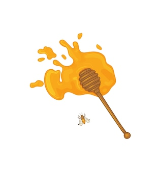 Łyżka do drewna z rozlanym miodem styl szkicu łyżka do miodu z miodem i pszczołą na białym tle nadruku wektorowego