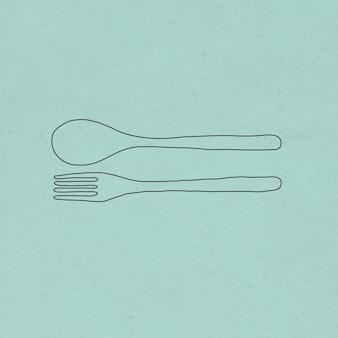 Łyżka i widelec doodle ilustracja zero odpadów styl życia