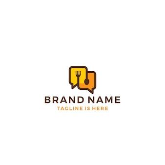 Łyżka widelec żywności rozmawiać rozmawiać bąbelkowy szablon logo ikonę ilustracji wektorowych