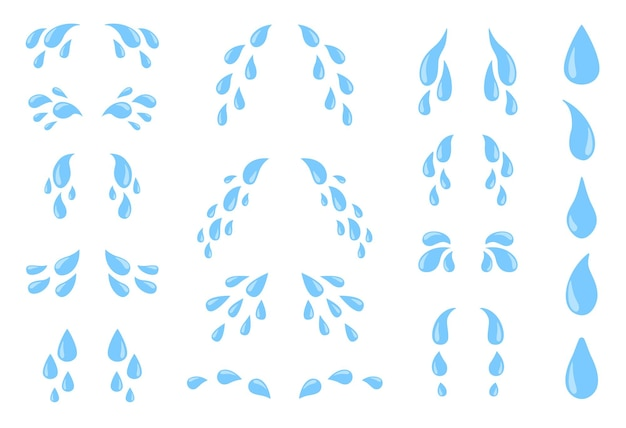 Łzy kreskówka. pot lub płyn do płaczu, spadające niebieskie krople wody. zestaw na białym tle krople deszczu
