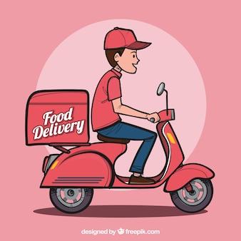 Mężczyzna wyciągnął rękę człowieka dostawy żywności