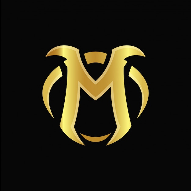 M gold logo design