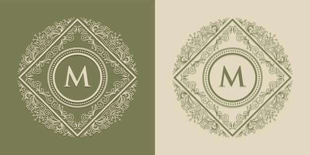 M luksusowe logo i etykiety z monogramem