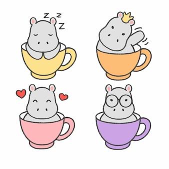 Mały hipopotam w filiżance herbaciana ręka rysująca kreskówki kolekcja