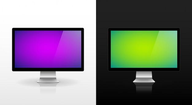 Mac monitoruje wektor na białym tle