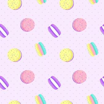 Macarons bezszwowy wzór z kropki tłem.