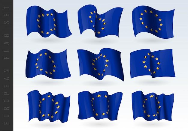 Macha flagą 3d unii europejskiej.