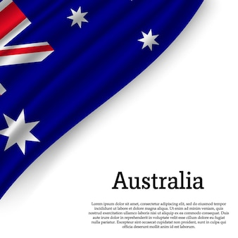 Macha flagą australii na białym tle