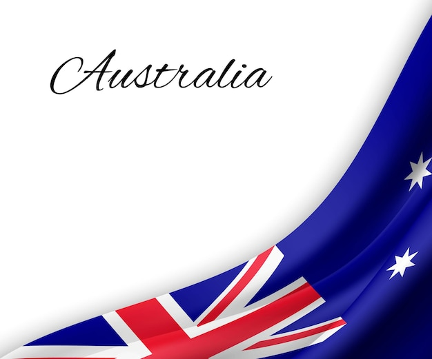 Macha flagą australii na białym tle.