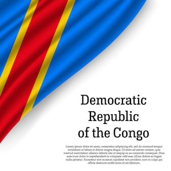 Macha flagą demokratycznej republiki konga na białym tle