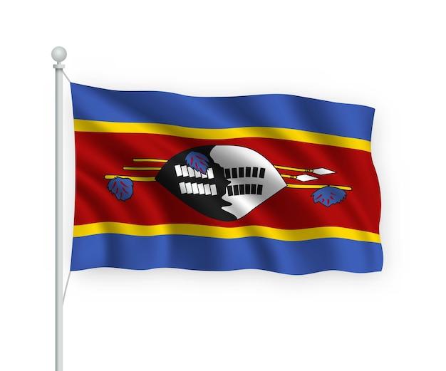 Macha flagą eswatini na masztem pojedynczo na białym