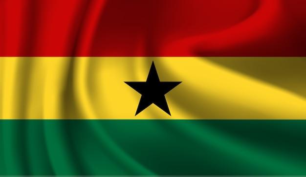 Macha flagą ghany. macha streszczenie tło flaga ghany