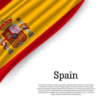 Macha flagą hiszpanii na białym tle