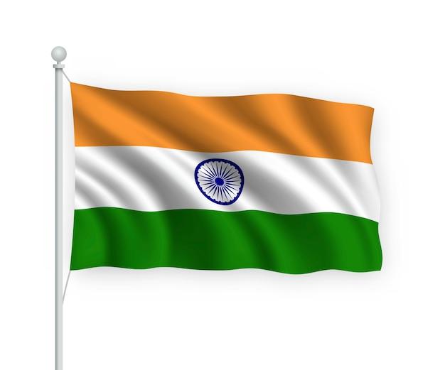Macha flagą indii na masztem pojedynczo na białym