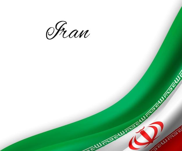 Macha flagą iranu na białym tle.