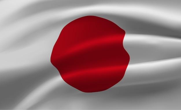 Macha flagą japonii streszczenie ilustracji