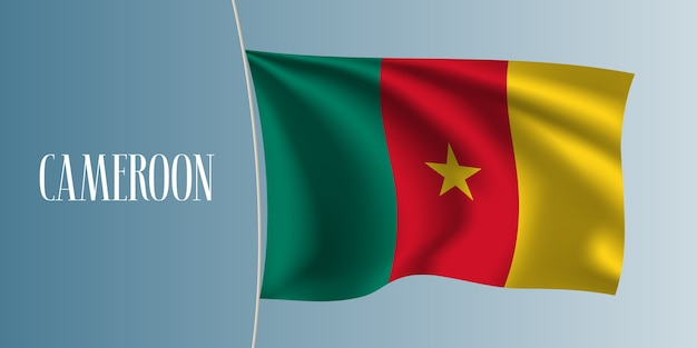 Macha flagą kamerunu. ikoniczny element projektu jako narodowa flaga kamerunu