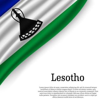 Macha flagą lesotho na białym tle