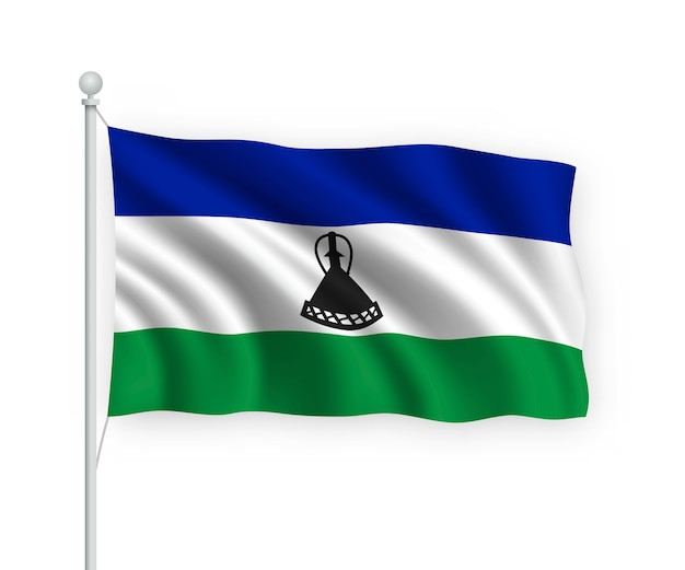 Macha flagą lesotho na masztem pojedynczo na białym