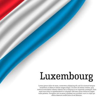 Macha flagą luksemburga na białym tle