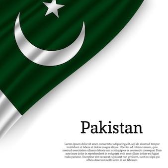 Macha flagą pakistanu na białym tle