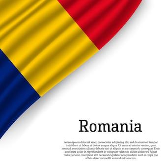 Macha flagą rumunii na białym tle