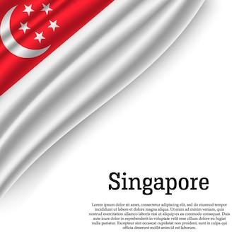 Macha flagą singapuru na białym tle