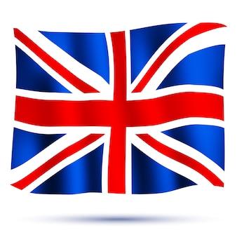 Macha flagą union jack na białym tle