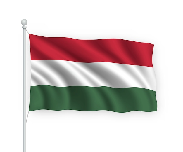 Macha flagą węgier na masztem pojedynczo na białym