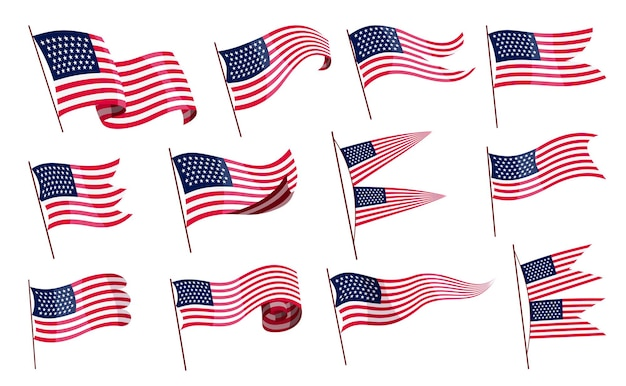 Macha flagami. zestaw amerykańskich flag na białym tle. flagi narodowe machające symbolami.