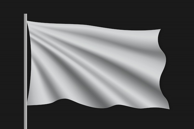 Macha pustą flagą na masztem.