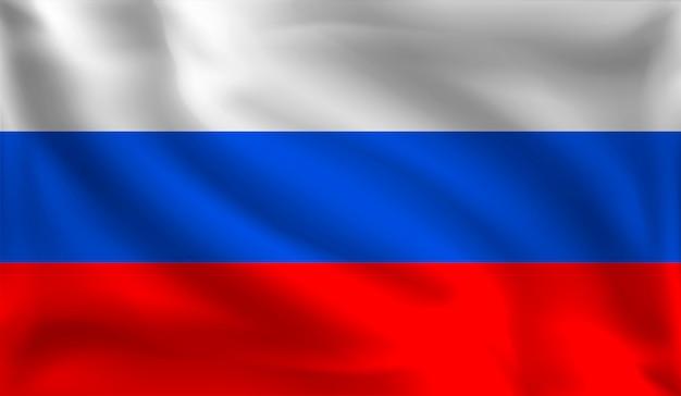 Macha rosyjską flagą, flagą rosji,