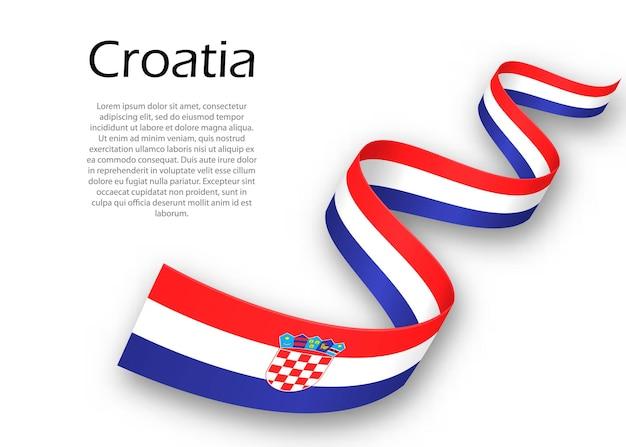 Macha wstążką lub banerem z flagą chorwacji. szablon projektu plakatu na dzień niepodległości