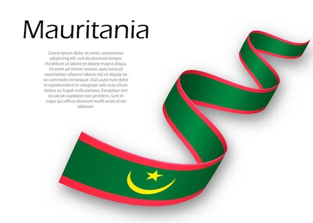 Macha wstążką lub banerem z flagą mauretanii. szablon projektu plakatu na dzień niepodległości
