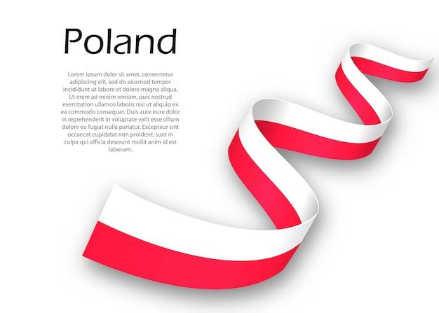 Macha wstążką lub banerem z flagą polski. szablon projektu plakatu na dzień niepodległości